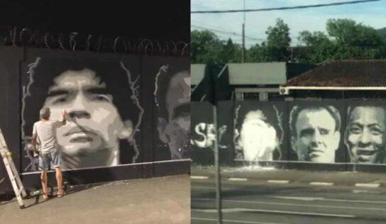 Vandalizan mural de Maradona en club de Brasil