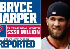 Phillies y Bryce Harper alcanzan acuerdo de 13 años y 330 millones de dolares
