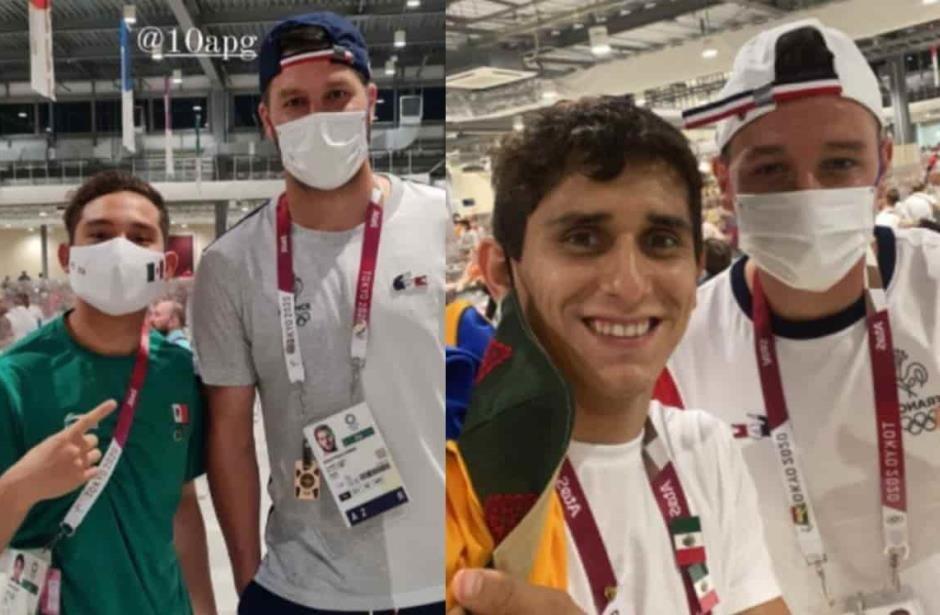 Atletas olímpicos mexicanos se toman fotos con Gignac y Florian Thauvin